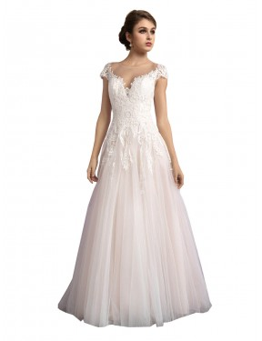 Discount A-Line Illusion Cathedral Train Long Ivory & Champagne Tulle Mariana Wedding Dress Canada