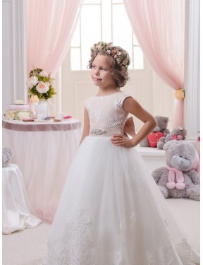 Discount Ball Gown Bateau Chapel Train Long Ivory Lace & Tulle Flower Girl Dress Canada