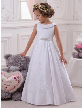 Discount Ball Gown Bateau  Long Ivory Satin & Lace Flower Girl Dress Canada