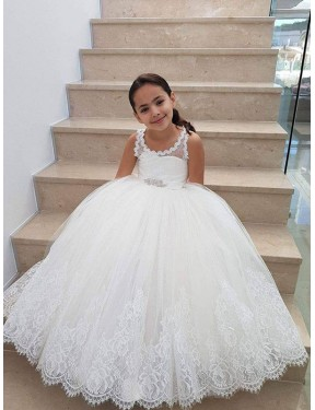 Discount Ball Gown  Long Ivory Lace & Tulle Flower Girl Dress Canada