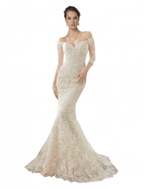 Discount Mermaid Off the Shoulder Chapel Train Long Ivory & Champagne Lace & Tulle Blake Wedding Dress Canada